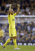 Photo: Aidan Ellis.<br /> Everton v Villarreal. UEFA Champions League Qualifying.<br /> 09/08/2005.<br /> Villareall's luciano Figueroa celebrates his goal the first of then game