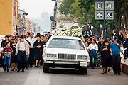 24 APRIL 2005 - SAN CRISTOBAL DE LAS CASAS, CHIAPAS, MEXICO: A funeral procession is San Cristobal de las Casas, Chiapas.  PHOTO BY JACK KURTZ