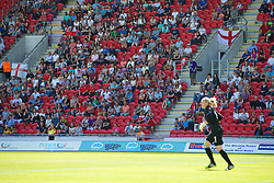 LLANELLI, WALES - Thursday, August 22, 2013: A record crowd of 1094 supporters watch as Wales take on England during the Group A match of the UEFA Women's Under-19 Championship Wales 2013 tournament at Parc y Scarlets. (Pic by David Rawcliffe/Propaganda)