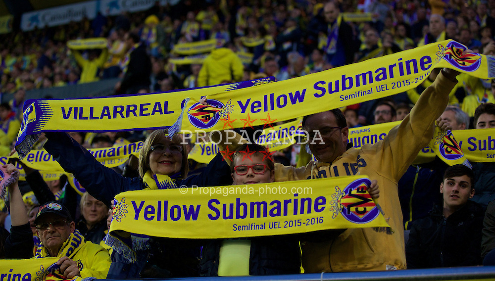"VILLRREAL, SPAIN - Thursday, April 28, 2016: Villarreal CF supporters with ""Yellow Submarine"" scarves before the UEFA Europa League Semi-Final 1st Leg match against Liverpool at Estadio El Madrigal. (Pic by David Rawcliffe/Propaganda)"