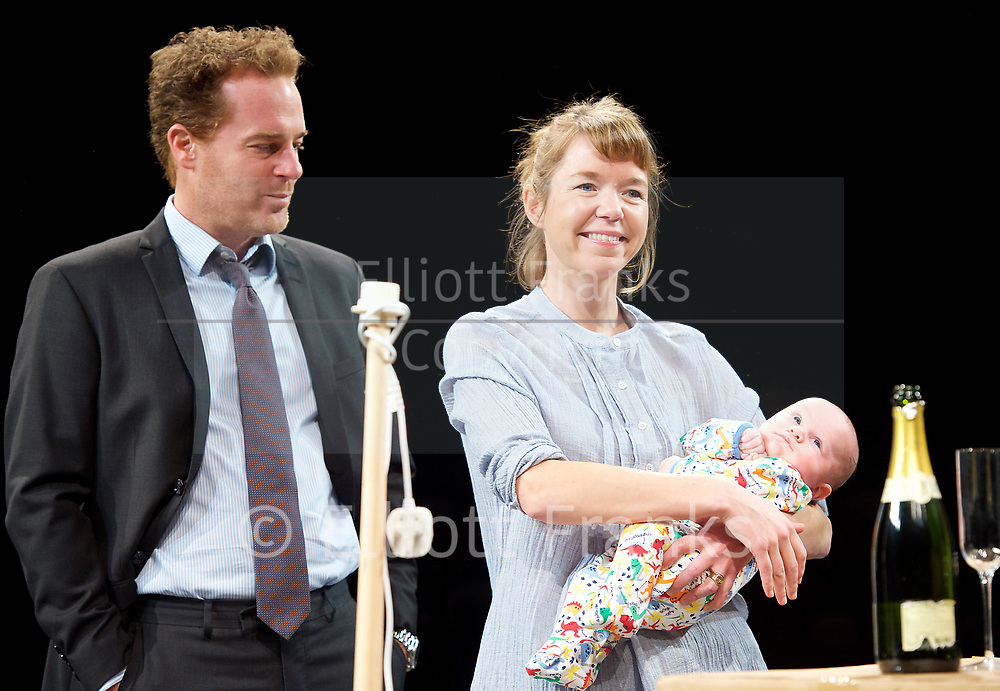 Consent <br /> by Nina Raine<br /> at the <br /> Dorfman Theatre, National Theatre, Southbank, London, Great Britain <br /> press photocall <br /> 3rd April 2017 <br /> Directed by Roger Michell<br /> Set Designed by Hildegard Bechtler<br /> Costumes Designed by Dinah Colin<br /> <br /> Adam James as Jake<br /> <br /> <br /> Anna Maxwell Martin as Kitty <br /> <br /> Mischa Wakefield-Raine (baby)<br />  <br /> Press night: Tuesday 4 April<br />  <br /> <br /> <br /> Photograph by Elliott Franks <br /> Image licensed to Elliott Franks Photography Services