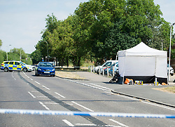 © Licensed to London News Pictures. 08/07/2018. Pisea, UK. Medical supplies and a bike at the scene where a man in his 20's was fatally stabbed at Little Garth, Pitsea. Despite best efforts at the scene by paramedics the man died shortly after at Basildon Hospital. Police believe this was a targeted attack. Photo credit : Simon Ford/LNP