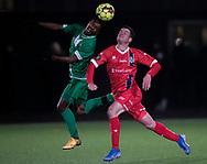 Foster Langsdorf (FC Helsingør) kæmper om bolden under træningskampen mellem FC Helsingør og Saudi Arabien U21 landshold den 27. november 2019 på Svanemølle Anlægget i København (Foto: Claus Birch).