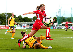 Olivia Fergusson of Bristol City Women is tackled by Dominique Janssen of Arsenal Ladies - Mandatory by-line: Robbie Stephenson/JMP - 03/06/2017 - FOOTBALL - Stoke Gifford Stadium - Bristol, England - Bristol City Women v Arsenal Ladies - FA Women's Super League Spring Series