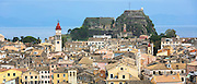 Panorama of Kerkyra, Corfu Town, Agios Spyridon church belltower, Old Fort - The Paleo Frourio in Corfu, Ionian Islands, Greece
