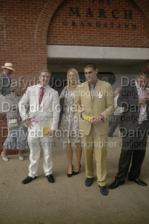 Marcus Broughton-Pipkin, Julien Draper and  Lady Alexandra Gordon Lennox, Glorious Goodwood. 2 August 2007.  -DO NOT ARCHIVE-© Copyright Photograph by Dafydd Jones. 248 Clapham Rd. London SW9 0PZ. Tel 0207 820 0771. www.dafjones.com.