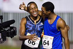 Akani Simbine and Henrico Bruintjies of South Africa celebrate after 100m Men during 20th European Athletics Classic Meeting in Honour of Miners' Day in Velenje on July 1, 2015 in Stadium Velenje, Slovenia. Photo by Vid Ponikvar / Sportida