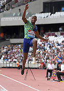 Jul 20, 2019; London, United Kingdom; Luvo Manyonga (RSA) wins the long jump at 27-5 1/2 (8.37m) during the London Anniversary Games at London Stadium at  Queen Elizabeth Olympic Park.