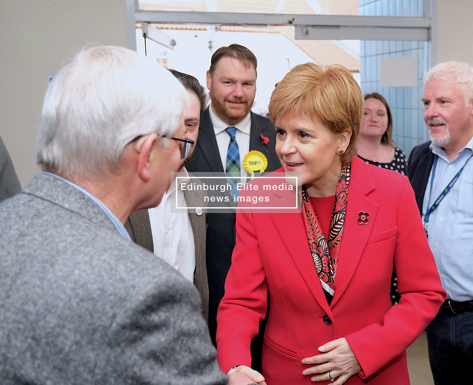 """Nicola Sturgeon, Tuesday 5th November 2019<br /> <br /> First Minister Nicola Sturgeon joined Owen Thompson, SNP candidate for Midlothian, to campaign in Dalkeith.<br /> <br /> Speaking ahead of the visit, Nicola Sturgeon said:<br /> <br /> """"Brexit is far from a done deal.<br /> <br /> """"Even if Boris Johnson was to get his deal passed, that would only be the beginning – not the end – of trade talks with the EU.<br /> <br /> """"We're already sick of Brexit – we don't want it to go on another ten years or more.<br /> <br /> """"So Scotland must not face a lost decade of Brexit chaos that we didn't vote for.<br /> <br /> """"A vote for the SNP is a vote to escape from Brexit and for Scotland's right to choose our own future."""" <br /> <br /> Pictured: Nicola Sturgeon meets supporters and members of the community in Dalkeith<br /> <br /> Alex Todd 