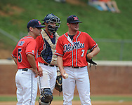 Mississippi's David Goforth (7) reacts to giving up runs to St. John's in the first inning during an NCAA Regional game at Davenport Field in Charlottesville, Va. on Sunday, June 6, 2010.