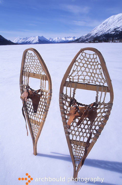 Snowshoes on Bennet Lake, Carcross, Yukon.
