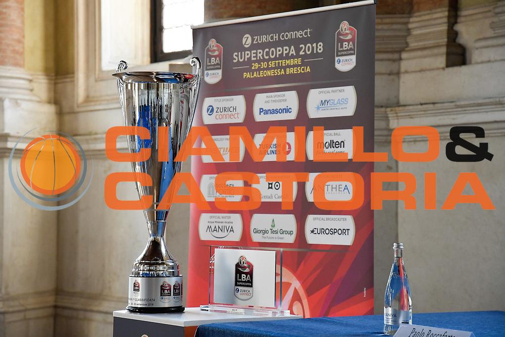 allestimenti sponsor<br /> presentazioe supercoppa 2018<br /> Legabasket Serie A 2018/19<br /> Brescia, 24/09/2018<br /> Ciamillo-Castoria