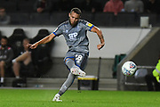 Lincoln City midfielder Jorge Grant (18) takes a shot at goal during the EFL Sky Bet League 1 match between Milton Keynes Dons and Lincoln City at stadium:mk, Milton Keynes, England on 20 August 2019.