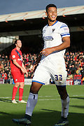 man of the moment Lyle Taylor of AFC Wimbledon puts AFC Wimbledon back in front during the Sky Bet League 2 match between York City and AFC Wimbledon at Bootham Crescent, York, England on 24 October 2015. Photo by Stuart Butcher.