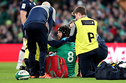 File photo dated 01-02-2020 of Ireland's Caelan Doris is seen to after sustaining an injury during the Guinness Six Nations match at the Aviva Stadium, Dublin.