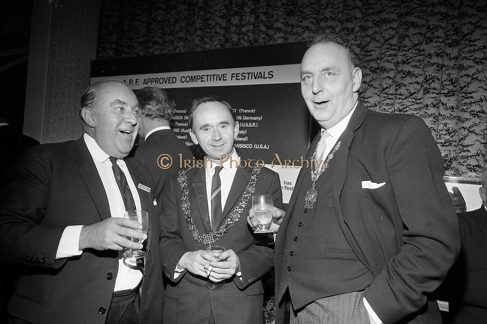 17/08/1967<br /> 08/17/1967<br /> 17 August 1967<br /> Player and Wills (Ireland) Ltd. give development grant to Cork Film Festival at Player and Wills headquarters, South Circular Road, Dublin. Picture shows Mr. T.W.W. Irvine, Player and Wills (Ireland) Ltd.; Alderman Pearse Wyse Td, Lord Mayor of Cork and Councillor Thomas Stafford P.C, Lord Mayor of Dublin chatting at the reception.