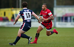 Tusi Pisi of Bristol Rugby takes on Mat Clark of Doncaster Knights - Mandatory by-line: Robbie Stephenson/JMP - 02/12/2017 - RUGBY - Castle Park - Doncaster, England - Doncaster Knights v Bristol Rugby - Greene King IPA Championship