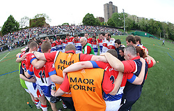 May 6, 2012; Bronx, NY; USA;  New York huddles before their game against Sligo at Gaelic Park.