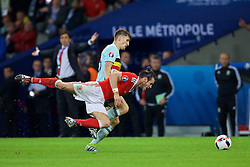 LILLE, FRANCE - Friday, July 1, 2016: Wales' Gareth Bale in action against Belgium's Thomas Meunier during the UEFA Euro 2016 Championship Quarter-Final match at the Stade Pierre Mauroy. (Pic by David Rawcliffe/Propaganda)