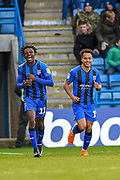 Gillingham FC midfielder Elliott List (15) (right) celebrates with team mate Gillingham FC midfielder Regan Charles-Cook (11) after scoring a goal (3-0) during the EFL Sky Bet League 1 match between Gillingham and Bradford City at the MEMS Priestfield Stadium, Gillingham, England on 27 October 2018.