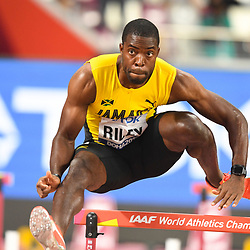 Doha, IAAF, Leichtathletik, athletics, Track and Field, World athletics Championships 2019  Doha, Leichtathletik WM 2019 Doha, 27.09-06.10.2019, .Khalifa International Stadium Doha, Andrew Riley Jamaika   110m Hürden Männer, Fotocopyright Gladys Chai von  der Laage ..Photo by Icon Sport - Andrew RILEY - Khalifa International Stadium - Doha (Qatar)