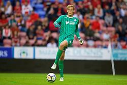WIGAN, ENGLAND - Friday, July 14, 2017: Wigan Athletic's goalkeeper Christian Walton during a preseason friendly match against Liverpool at the DW Stadium. (Pic by David Rawcliffe/Propaganda)