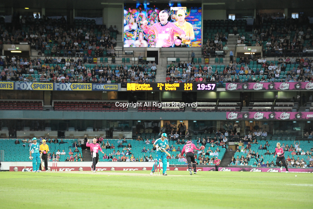 16.12.2011 Sydney, Australia.Sydney Sixers spinner Stuart MacGill celebrates after getting the wicket of Brisbane Heat batsman Matthew Hayden during the KFC T20 Big Bash League game between Sydney Sixers and Brisbane Heat at the Sydney Cricket Ground.