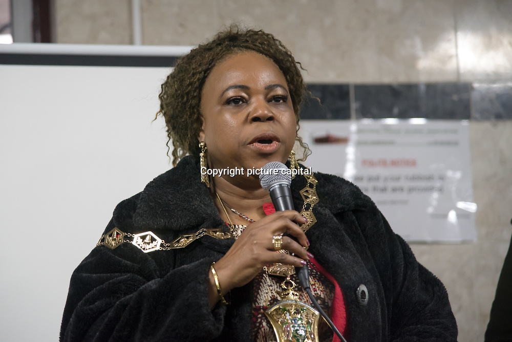 Councillor Yemi Osho of Waltham Forest Stand up to Racism against hate and the outrageous 'Punish a Muslim Day' letter recently sent to homes across the country is yet another example of anti-Muslim hate crime which has doubled over the last year on the 3rd March 2018 at Lea Bridge Road Mosque, London,