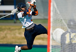 Virginia midfielder Rhamel Bratton (3) shoots against Navy.  The Virginia Cavaliers scrimmaged the Navy Midshipmen in lacrosse at the University Hall Turf Field  in Charlottesville, VA on February 2, 2008.