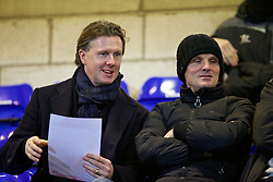 CHESTER, ENGLAND - Wednesday, January 21, 2015: Former Liverpool player Steve McManaman with youth coach Mike Marsh during the FA Youth Cup 4th Round match between Liverpool and Derby County at the Deva Stadium. (Pic by David Rawcliffe/Propaganda)