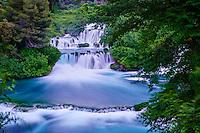 Croatie, Dalmatie, côte dalmate, environs de Sibenik, parc national de Krka, chutes de la rivière Krka // Croatia, Dalmatia, waterfall in Krka National Park