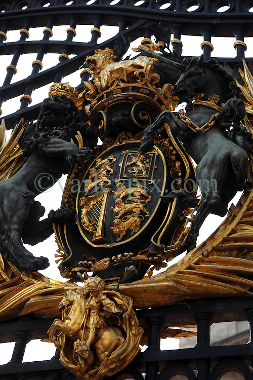 21 April 2011. London, England..The Royal crest on the gates at Buckingham Palace in the run up to Catherine Middleton's marriage to Prince William. The royal will exit and enter these gates..Photo; Charlie Varley.