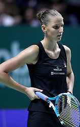 October 27, 2018 - Singapore - Karolina Pliskova of the Czech Republic reacts to loosing a point during the semi final match between Sloane Stephens and Karolina Pliskova on day 7 of the WTA Finals at the Singapore Indoor Stadium. (Credit Image: © Paul Miller/ZUMA Wire)