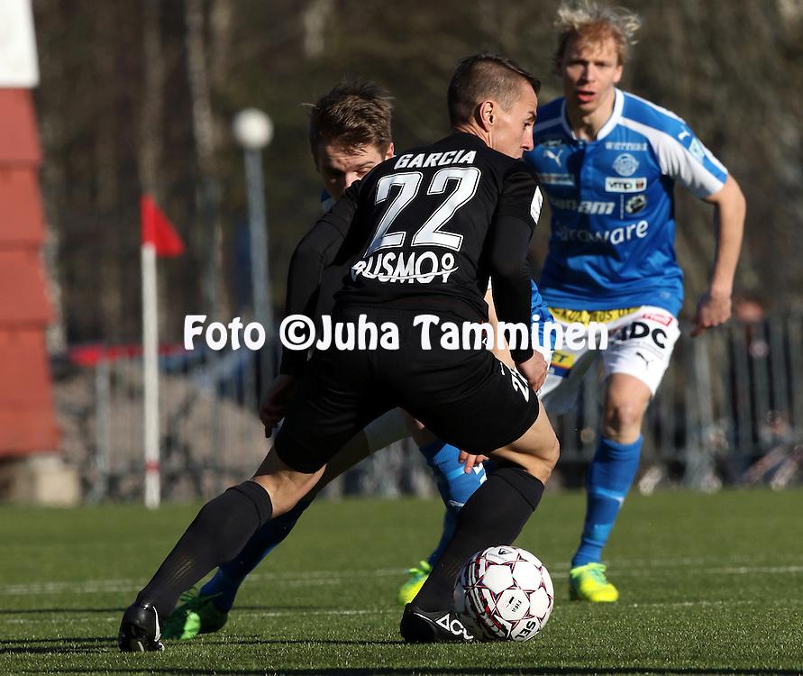 2.4.2016, Myyrm&auml;en jalkapallostadion, Vantaa.<br /> Veikkausliiga 2016.<br /> Pallokerho-35 Vantaa - Rovaniemen Palloseura.<br /> Lucas L&oacute;pez Garc&iacute;a - PK-35 Vantaa