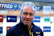 Leeds Rhinos Head Coach Brian McDermott pre match interview prior to the Betfred Super League match between Hull FC and Leeds Rhinos at Kingston Communications Stadium, Hull, United Kingdom on 19 April 2018. Picture by Mick Atkins.