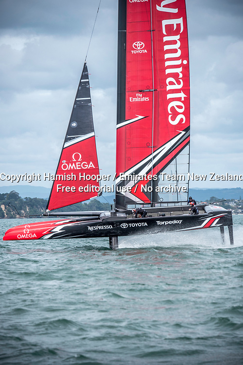 20/3/17- Emirates Team New Zealand sail their America's Cup Class race boat in Auckland New Zealand<br /> For editorial news use only NO AGENTS<br /> Copyright photo: Emirates Team New Zealand