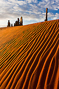Sidelight enhances the dune patterns near the Totem Pole and Yey Bi Chei rock formations. Insect tracks can be seen crossing the dunes in several directions.