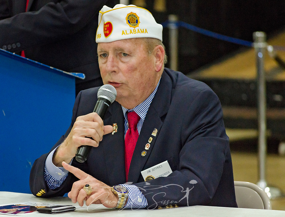 Department of Alabama Commander Jim Jeffries speaks during the Mobile SWS Town Hall at USS Alabama Battleship Memorial Park in Mobile, Ala., on Friday, April 3, 2017. (Photo by Carmen K. Sisson/Cloudybright)