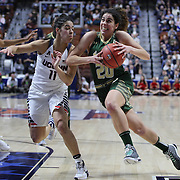 Laura Ferreira, (left), USF, drives to the basket defended by Kia Nurse, UConn during the UConn Huskies Vs USF Bulls 2016 American Athletic Conference Championships Final. Mohegan Sun Arena, Uncasville, Connecticut, USA. 7th March 2016. Photo Tim Clayton