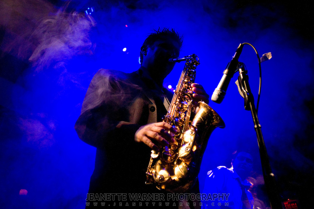 A saxaphone is played for a live concert at La Juliana, a top club in Quito, Ecuador.