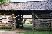 2 drive-through barns; Tipton Place; historic farm; Great Smoky Mountains National Park; Cades Cove; TN; Tennessee; summer
