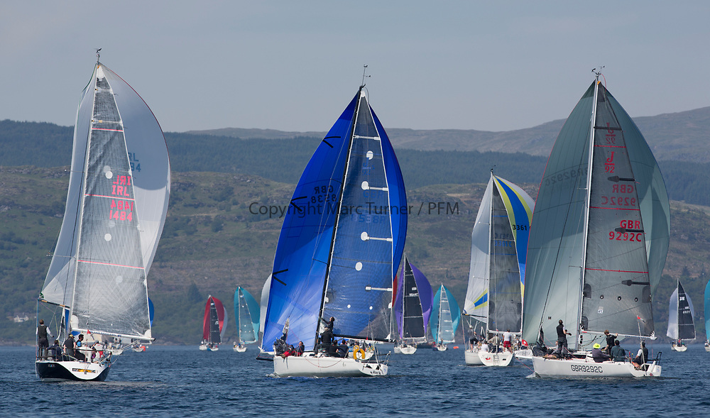 Silvers Marine Scottish Series 2017<br /> Tarbert Loch Fyne - Sailing<br /> <br /> IRC Class 3 downwind with IRL1484, Harmony, John Swan, Howth Yacht Club, Half Tonner, GBR8538R, Jack, Mr Peter Doig, East Antrim Boat Club, J92 and GBR9292C, Samurai J, Alan Macleod/A Knowles, Cove SC / CCC, J92<br /> <br /> Credit Marc Turner / PFM