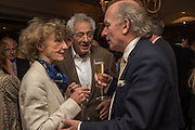 LINDY DUFFERIN; PETER MAYER; DAVID CAMPBELL, David Campbell Publisher of Everyman's Library and Champagen Bollinger celebrate the completion of the Everyman Wodehouse in 99 volumes and the 2015 Bollinger Everyman Wodehouse prize shortlist. The Archive Room, The Goring Hotel. London. 20 April 2015.