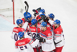 Players of Czech Republic celebrate after scoring first goal in overtime and won during the 2017 IIHF Men's World Championship group B Ice hockey match between National Teams of Czech Republic and Norway, on May 11, 2017 in AccorHotels Arena in Paris, France. Photo by Vid Ponikvar / Sportida
