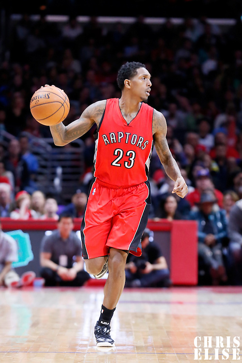 27 December 2014: Toronto Raptors guard Louis Williams (23) brings the ball up court during the Toronto Raptors 110-98 victory over the Los Angeles Clippers, at the Staples Center, Los Angeles, California, USA.