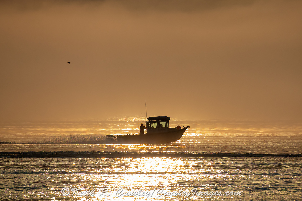 Heading out fishing at daybreak on the Gulf of Alaska