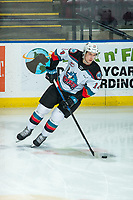 KELOWNA, BC - FEBRUARY 12: Elias Carmichael #14 of the Kelowna Rockets warms up with the puck against the Tri-City Americans at Prospera Place on February 8, 2020 in Kelowna, Canada. (Photo by Marissa Baecker/Shoot the Breeze)