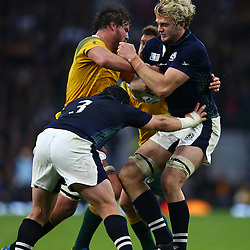 LONDON, ENGLAND - OCTOBER 18: Kane Douglas of Australia and Richie Gray of Scotland both go for the ball during the Rugby World Cup Quarter Final match between Australia v Scotland at Twickenham Stadium on October 18, 2015 in London, England. (Photo by Steve Haag)