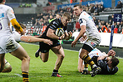 Kieran Williams of the Ospreys during the Anglo Welsh Cup match between Ospreys and Wasps at The Liberty Stadium, Swansea, Wales on 10 November 2017. Photo by Andrew Lewis.