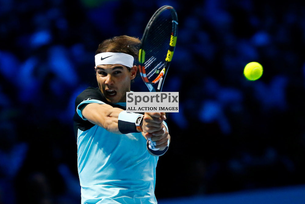 Rafael Nadal making a powerful return. ATP Finals 2015 at O2 Arena, London. Stanislas Wawrinka plays Rafael Nadal in their first match in the Group Ilie Nastase. 16th November 2015. (c) Matt Bristow | SportPix.org.uk